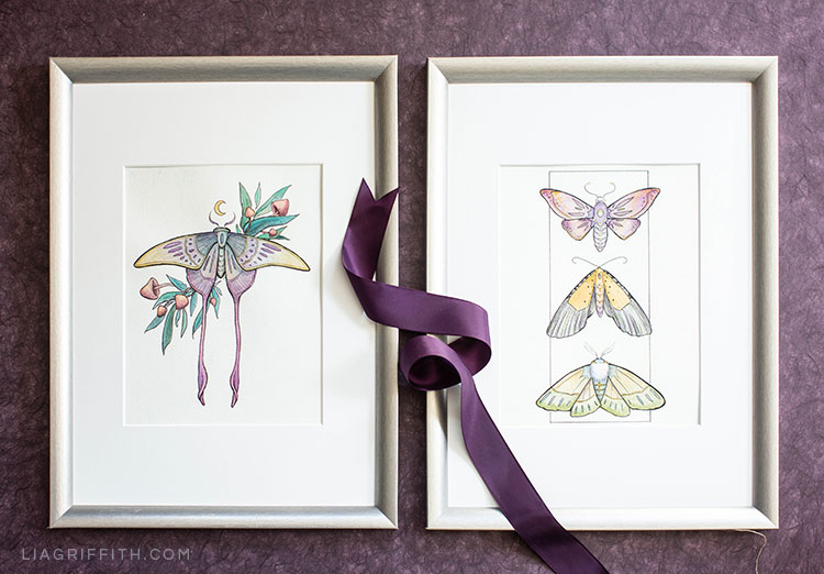 Halloween coloring pages with moths framed on wall