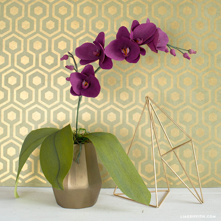 DIY Potted Crepe Paper Orchid Plant