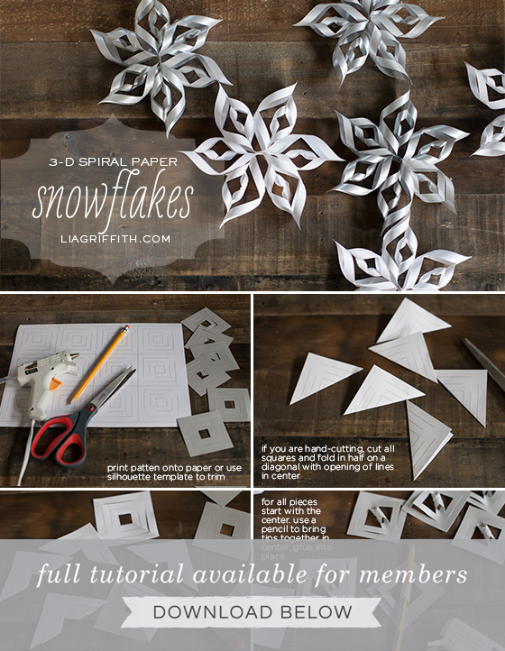 but you can easily use the patten to make smaller or larger snowflakes so grab some paper scissors and hot glue and let it snow lia