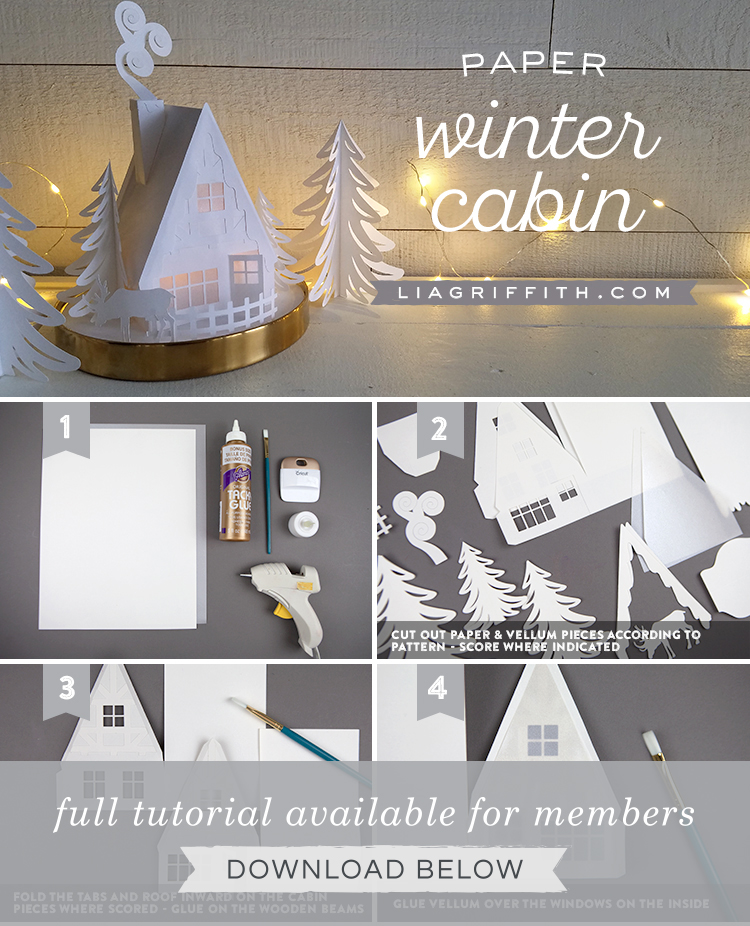 Photo tutorial of 3D paper winter cabin by Lia Griffith