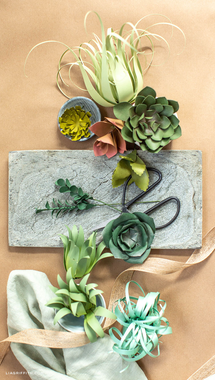 paper succulents and air plants on table with scissors and ribbon