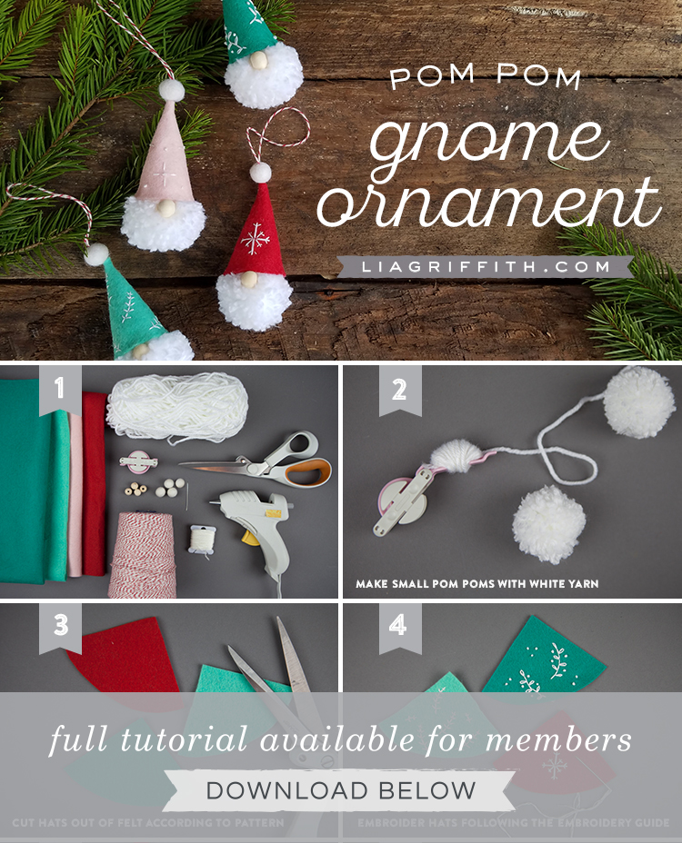 photo tutorial for pom-pom gnome ornaments by Lia Griffith