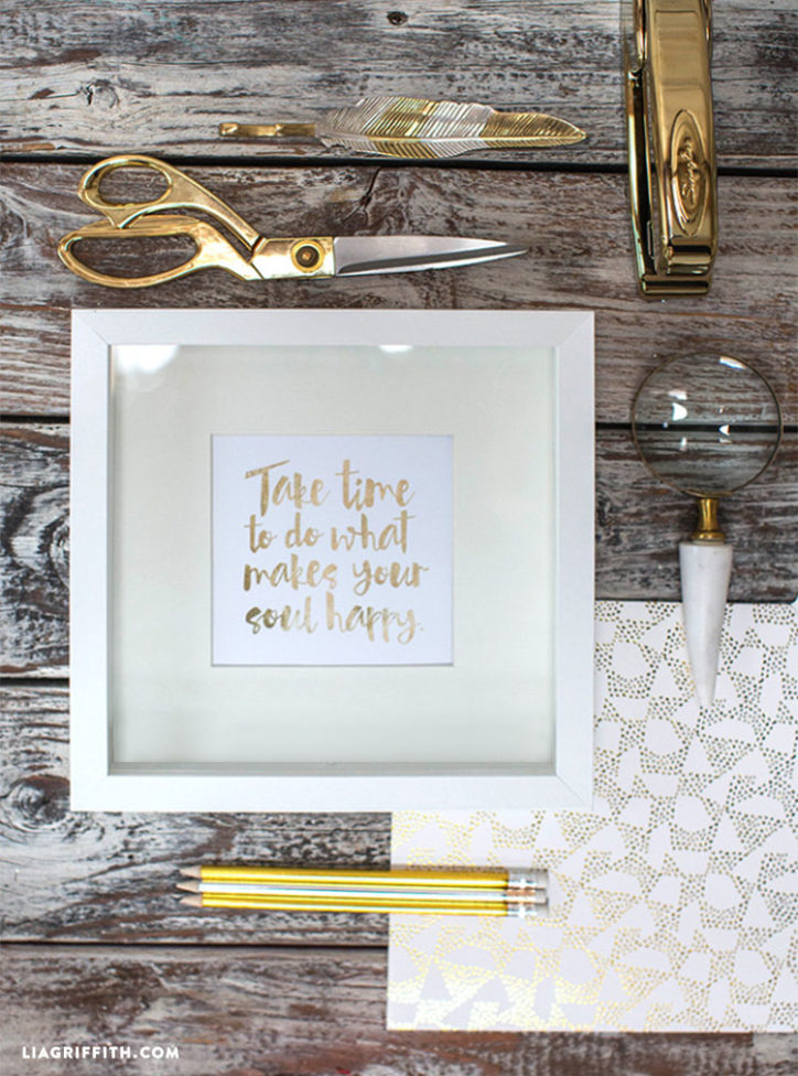 Positive Quote Gold Foil Art