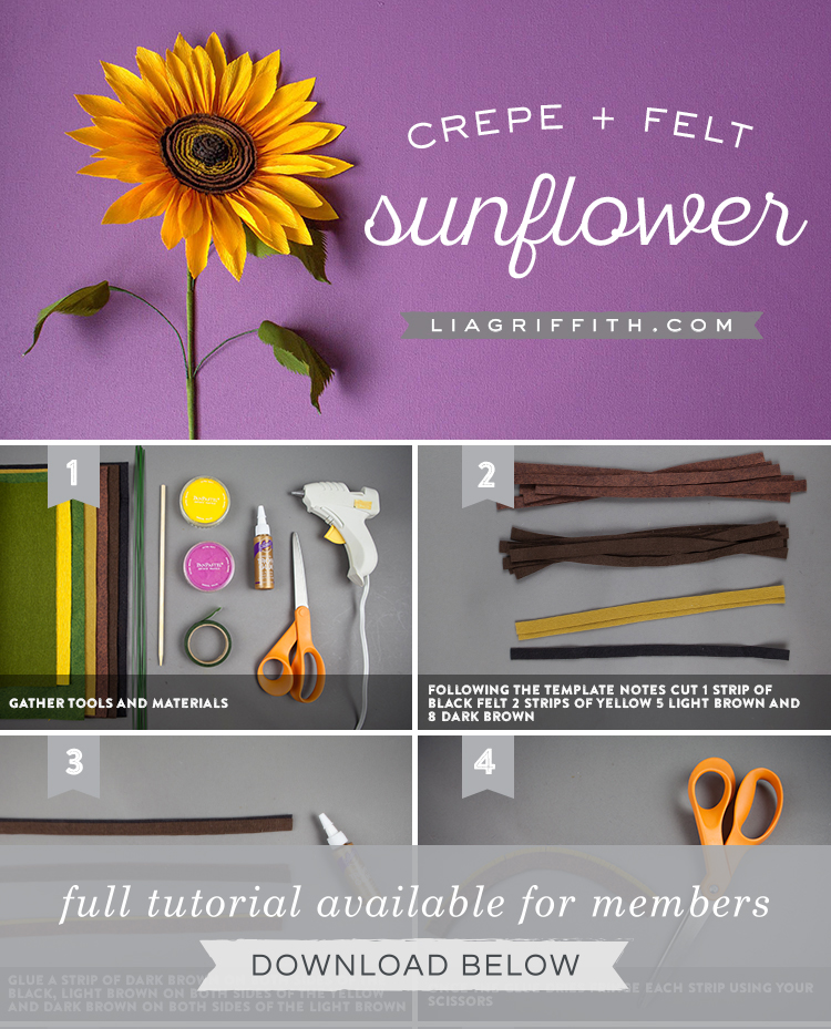 Jumbo Crepe Paper Sunflower Lia Griffith