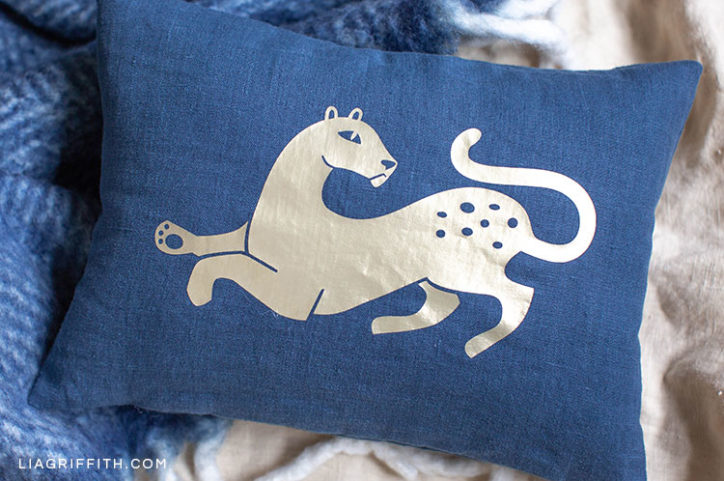 blue linen art deco wild cat pillow