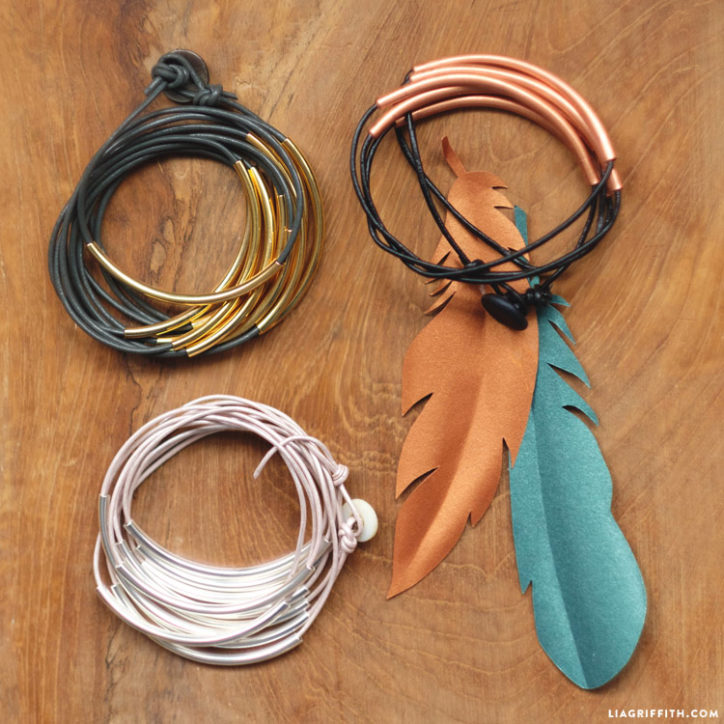 DIY leather wrap bracelets