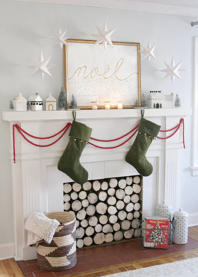 White and gold paper stars for mantel