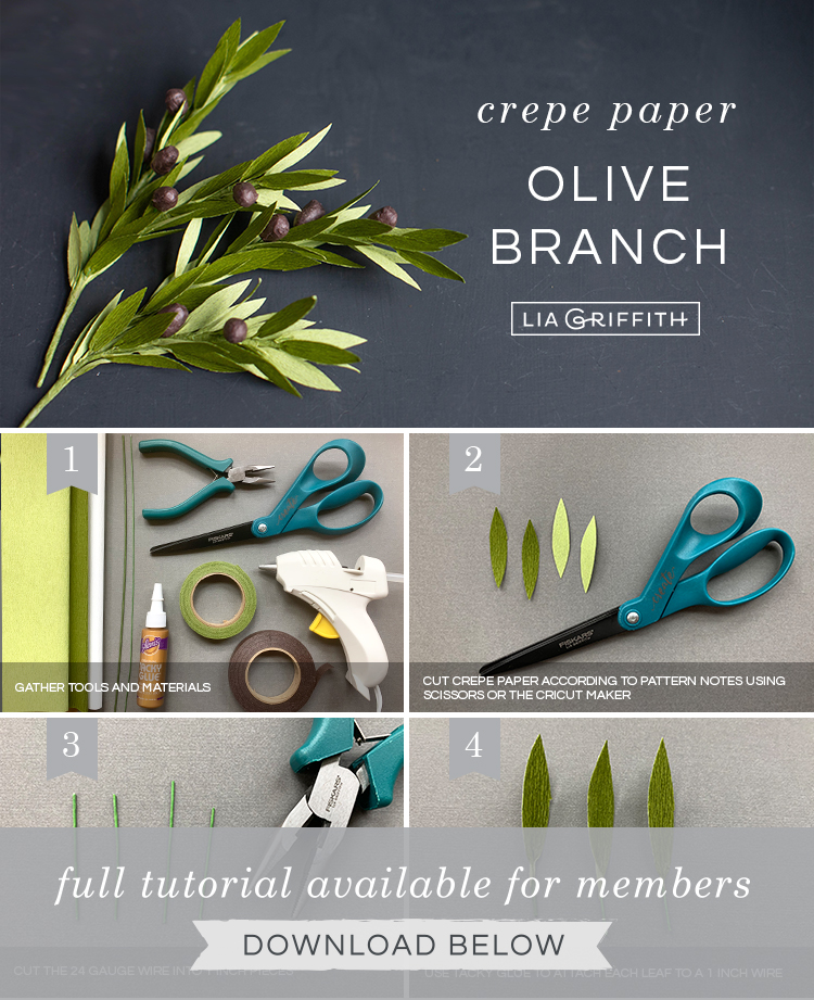 Photo tutorial for crepe paper olive branches by Lia Griffith