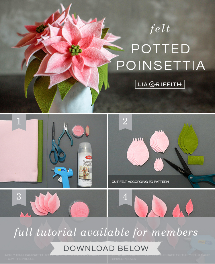 Photo tutorial for pink felt poinsettia plants