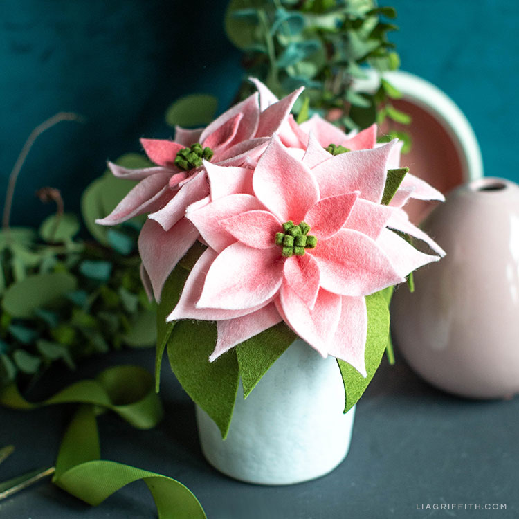 How To Make Pink Felt Poinsettia Plants Lia Griffith