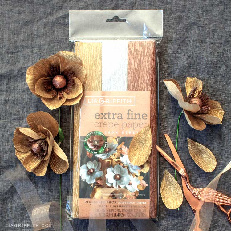 Lia Griffith extra-fine crepe paper in gold, copper, and silver with gold crepe paper anemones and copper scissors