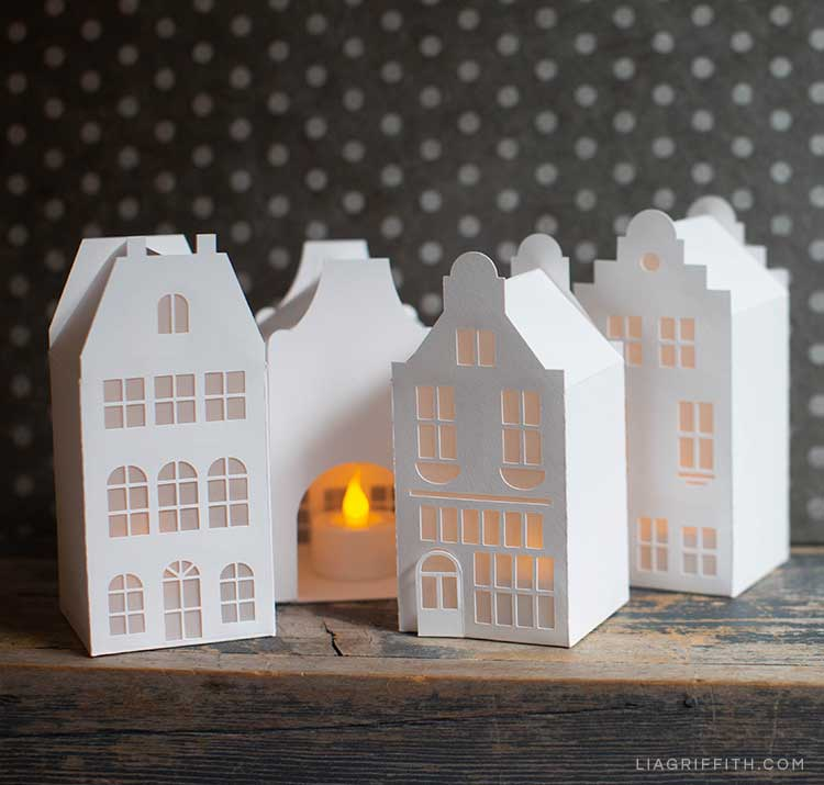paper canal houses with LED light inside