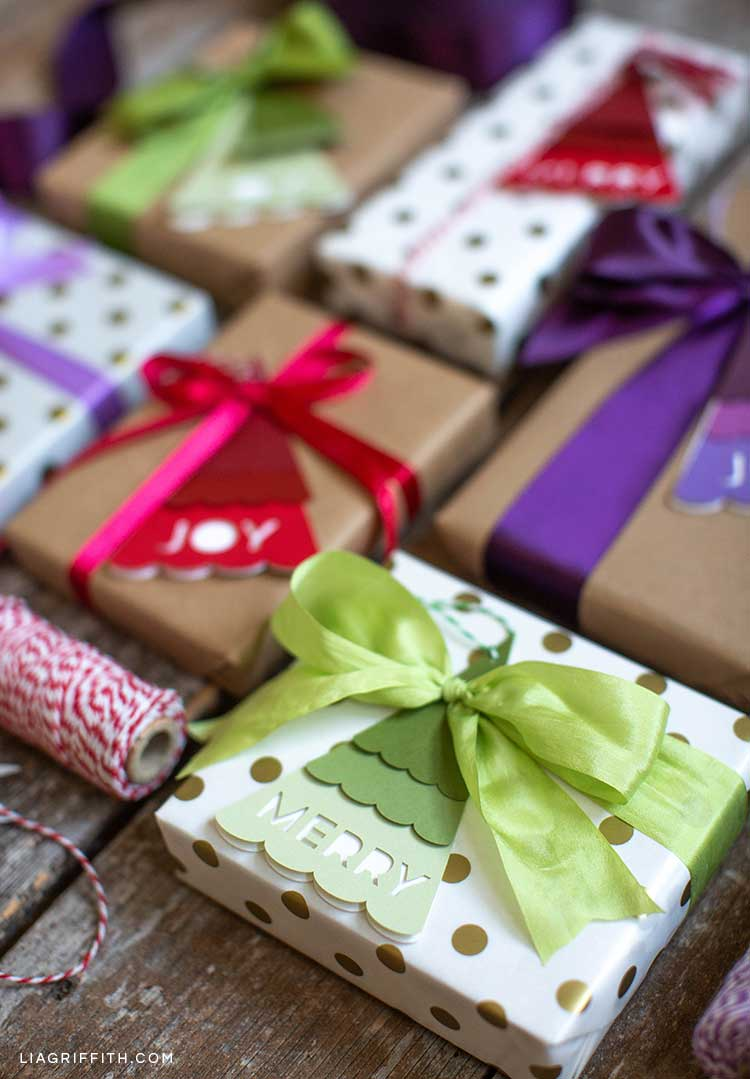 Christmas tree gift tags on wrapped presents