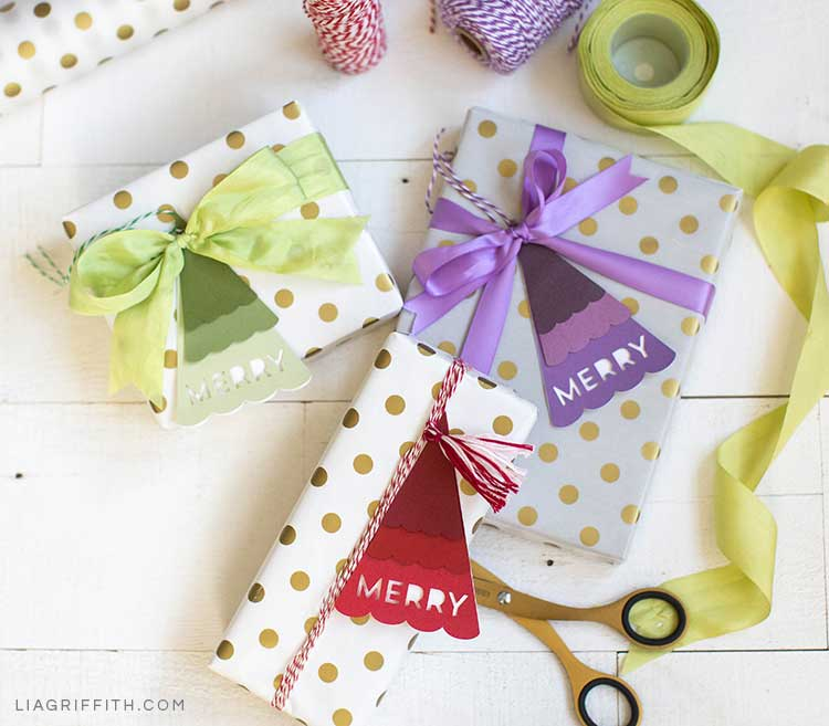 Christmas tree gift tags on polka-dot gift-wrapped presents
