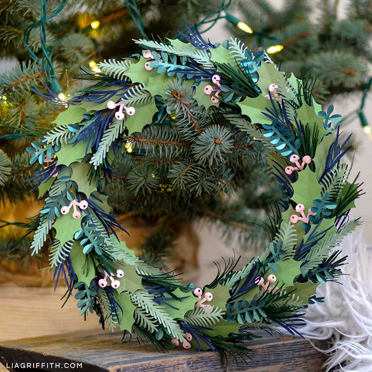 Paper Christmas Wreath Designs.Winter Greens And Pink Berry Wreath Diy Lia Griffith