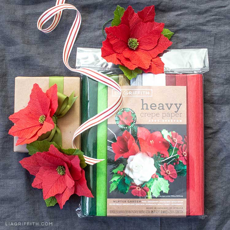 heavy crepe paper poinsettia flowers with Lia Griffith heavy crepe paper Winter Garden collection