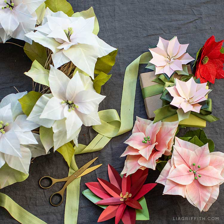 Video Tutorial How To Decorate With Paper Poinsettias Lia Griffith