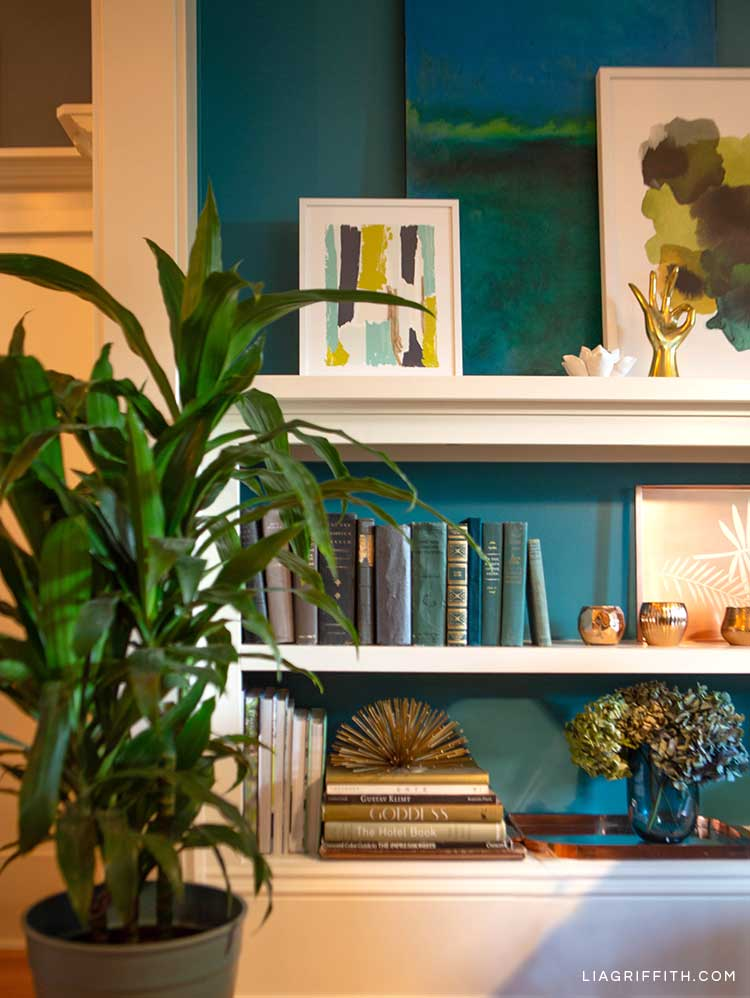 Potted plant next to bookshelves with books and framed art