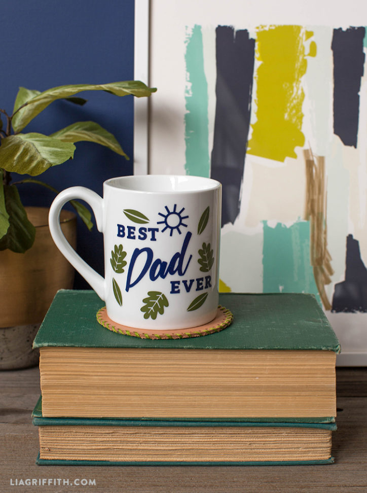 DIY best dad ever mug on books