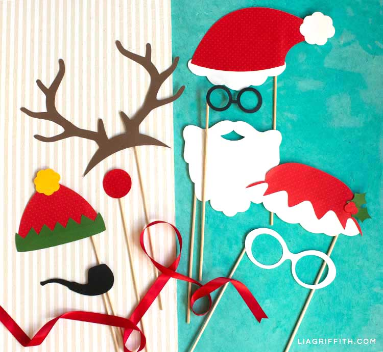 Santa, Mrs. Claus, reindeer, and elf photo booth props for Christmas