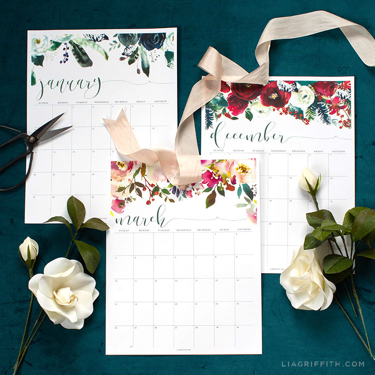2019 Printable Calendar with Floral Design - Lia Griffith