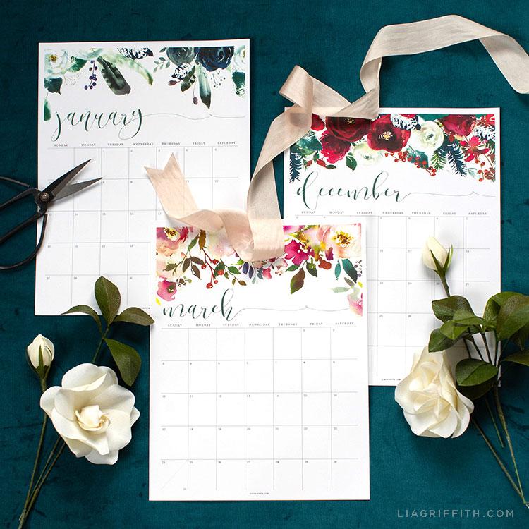 image regarding Printable Calendar -16 identify 2019 Printable Calendar with Floral Layout - Lia Griffith