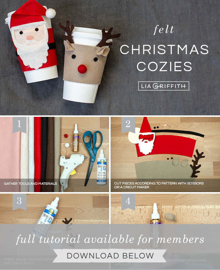 Photo tutorial for felt Christmas coffee cup cozies by Lia Griffith
