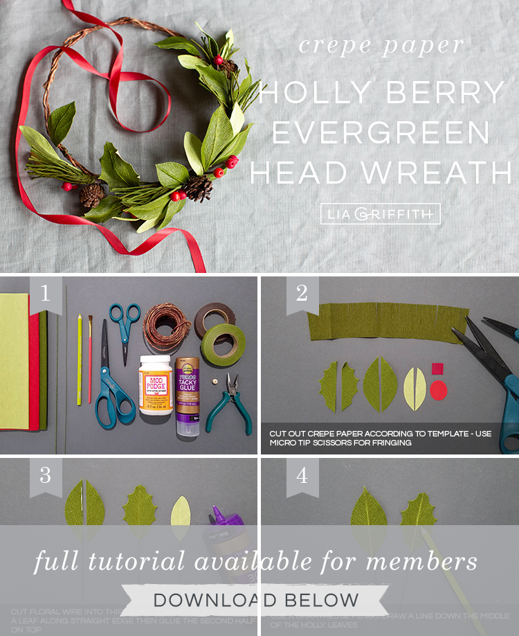 Photo tutorial for crepe paper holly berry evergreen head wreath by Lia Griffith