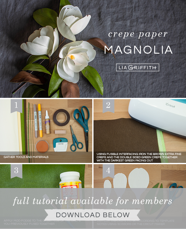 Photo tutorial for crepe paper magnolias by Lia Griffith