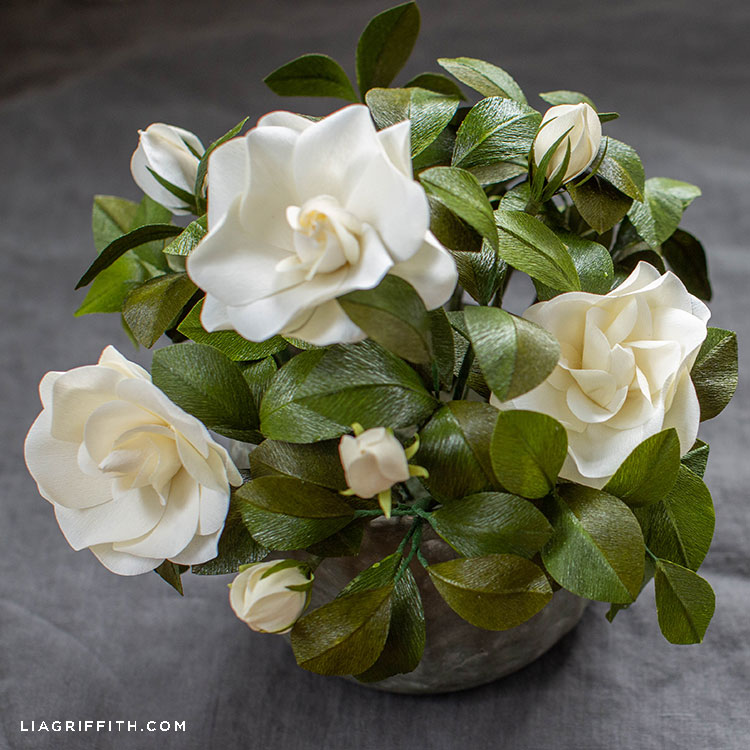 white crepe paper gardenia plant with grey background