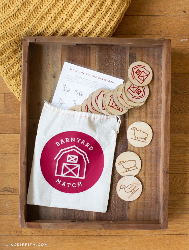DIY barnyard memory game on wooden tray