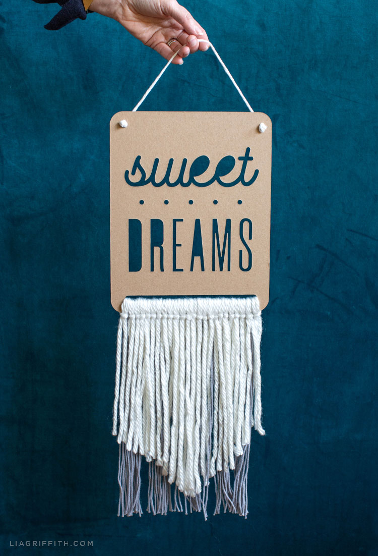 sweet dreams chipboard and yarn wall hanging