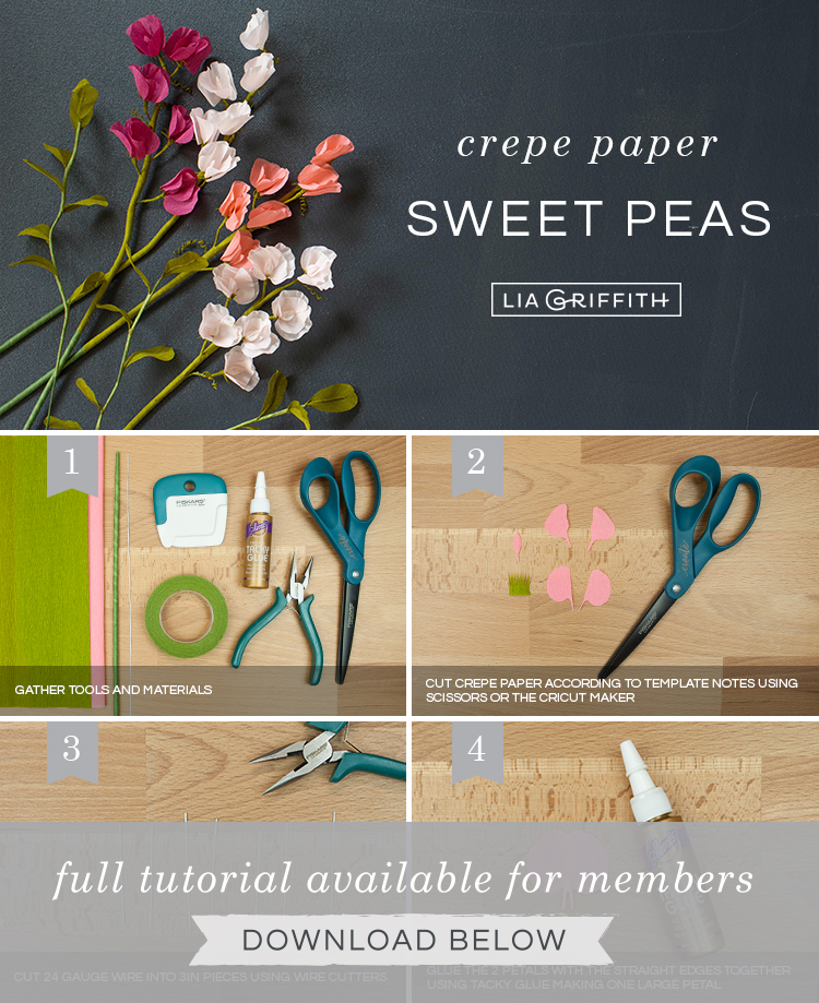 Photo tutorial for crepe paper sweet peas by Lia Griffith