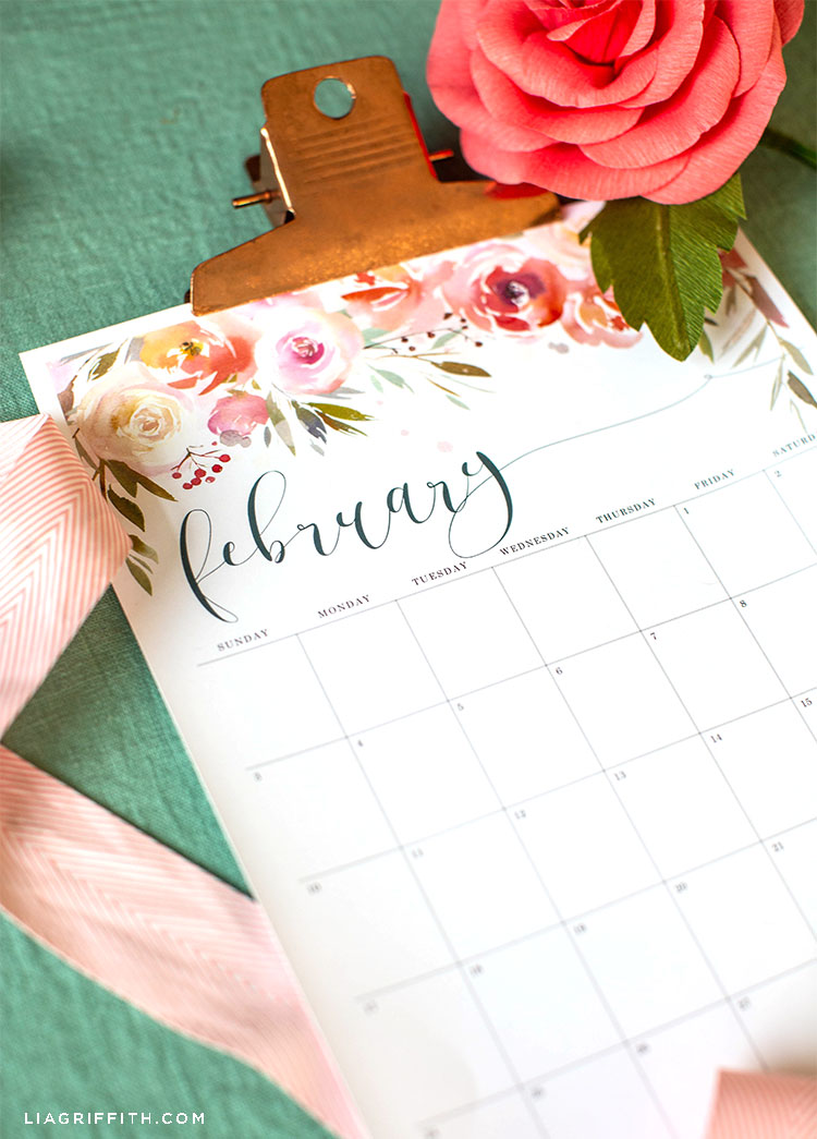 February 2019 printable calendar with pink paper camellia and pink ribbon