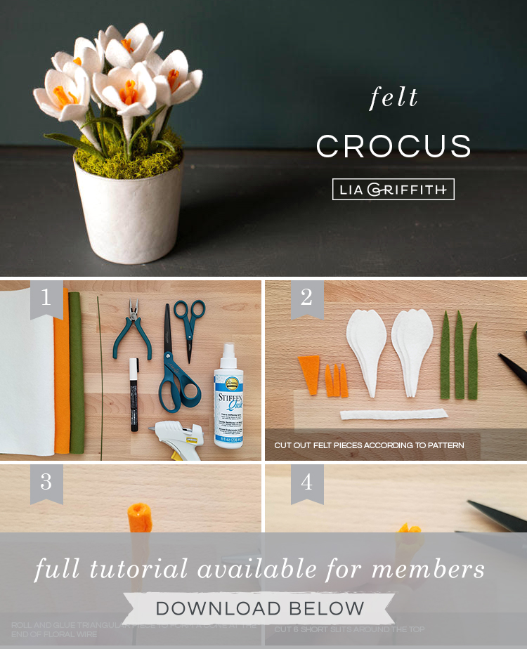photo tutorial for felt Crocus flowers by Lia Griffith