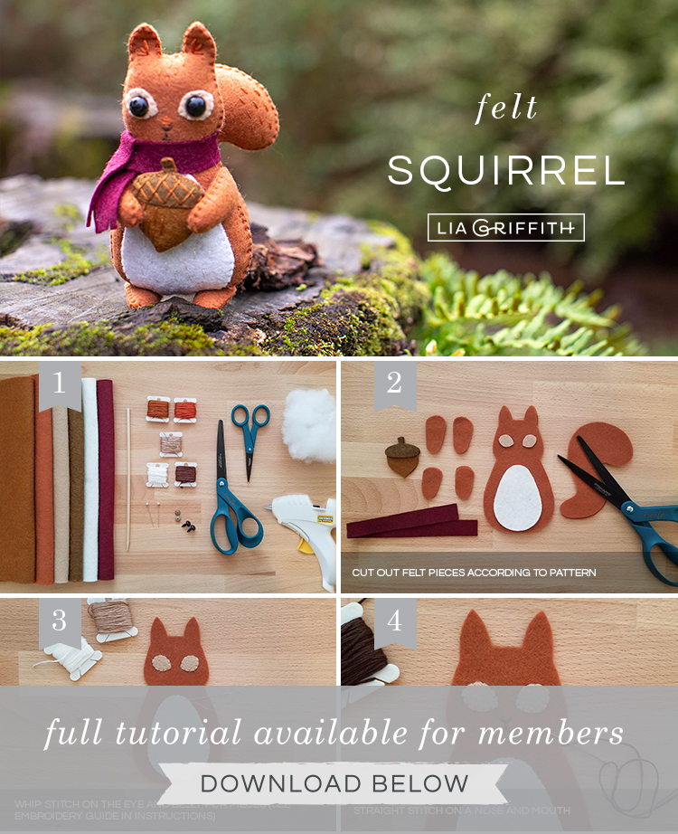 Photo tutorial for felt squirrel stuffie by Lia Griffith