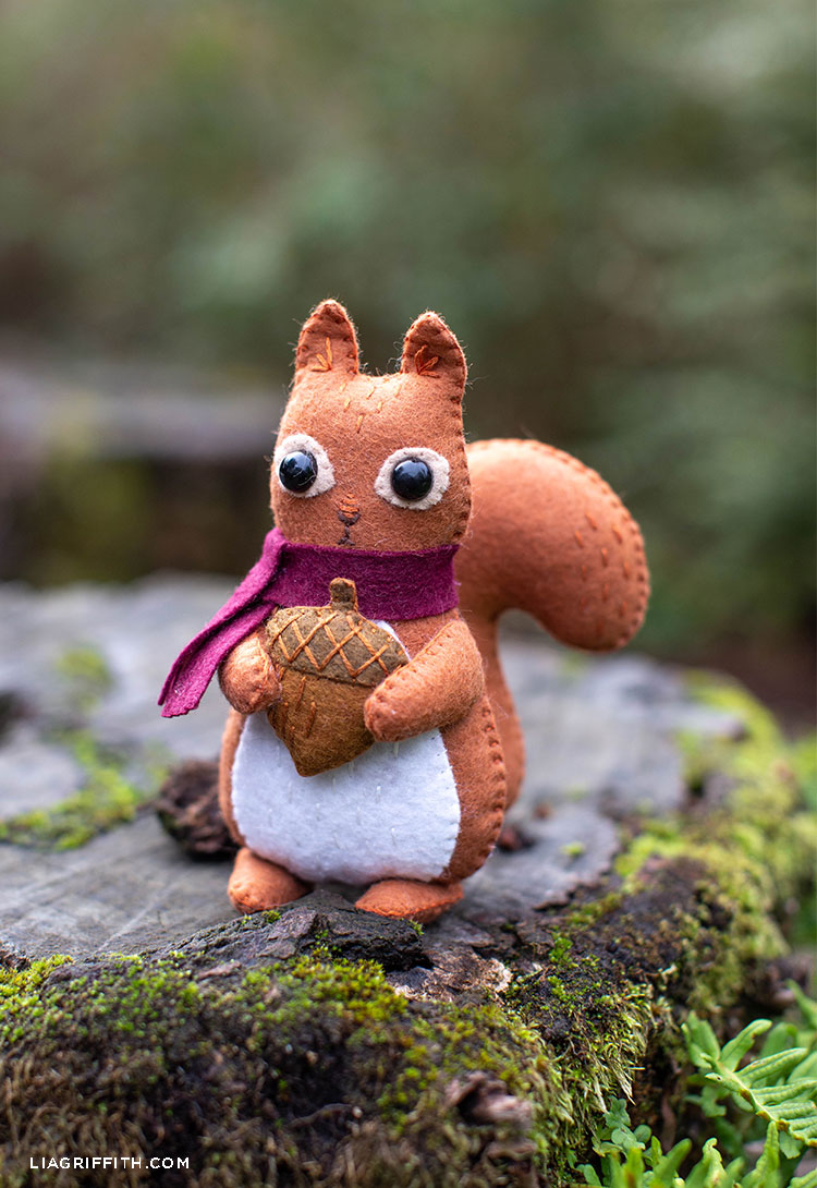 felt squirrel stuffie sitting outside