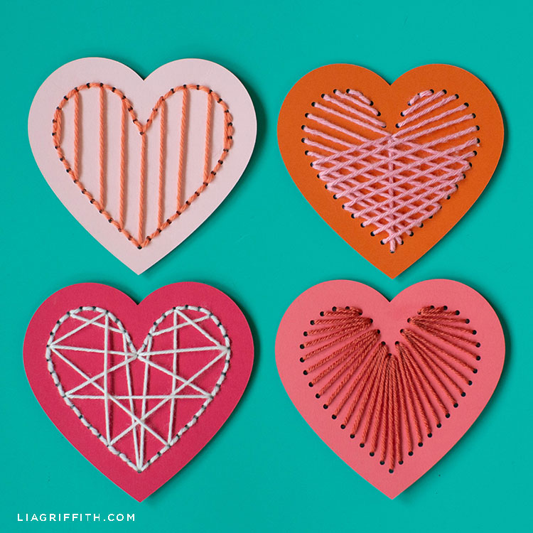 DIY heart lacing cards