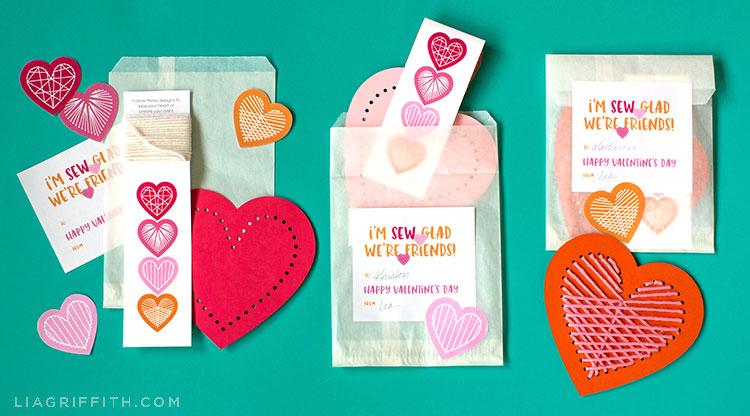 heart lacing card Valentine craft kit