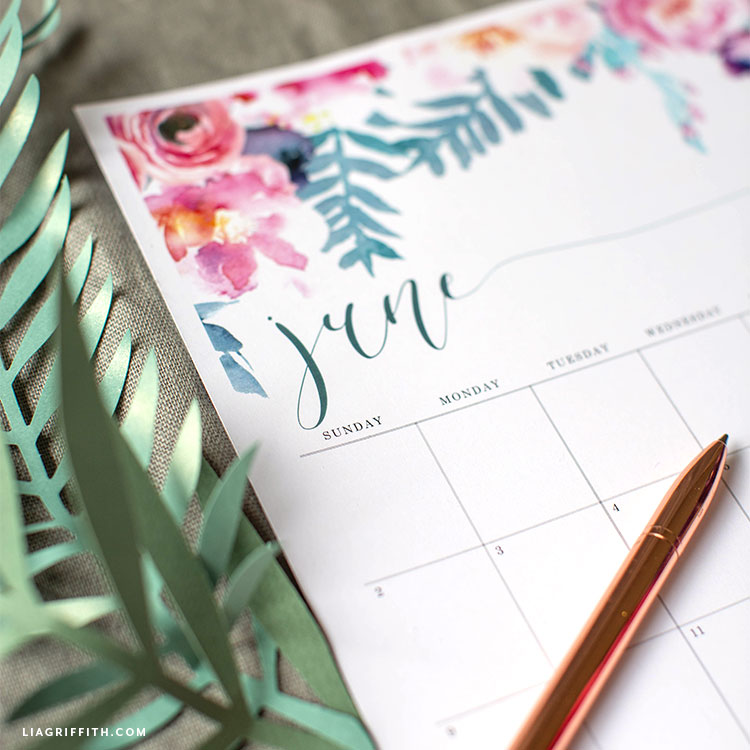 June 2019 printable calendar with paper fern leaves and pen