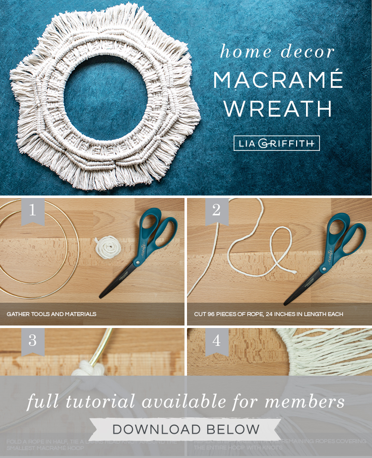 Photo tutorial for macramé wreath by Lia Griffith