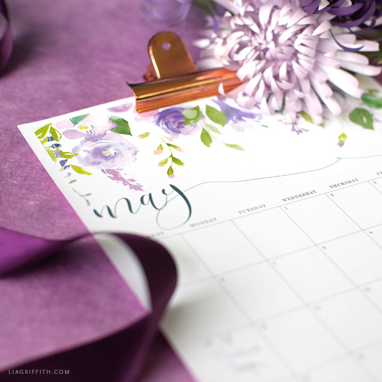 May 2019 printable calendar with gold clip and purple flower