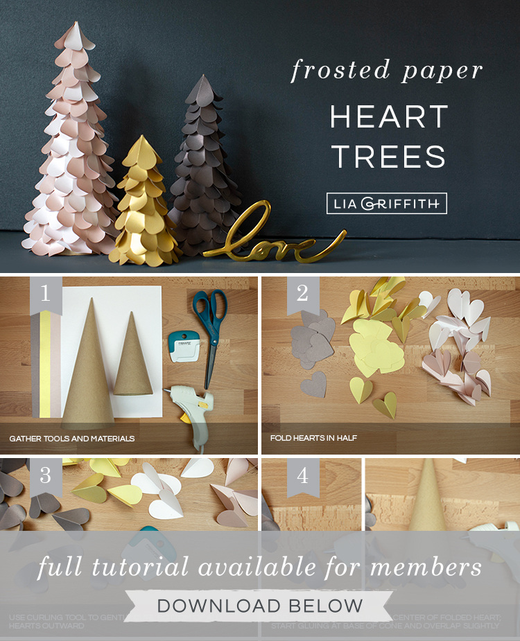 photo tutorial for frosted paper heart trees by Lia Griffith
