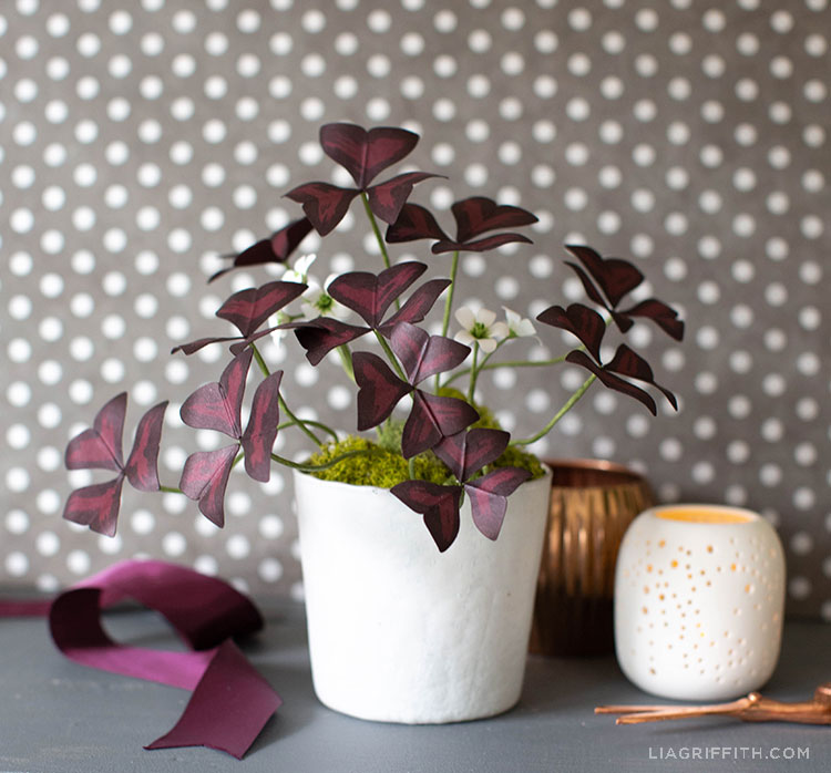paper oxalis plant in white pot next to empty vases and purple ribbon against a grey and white polka-dot background