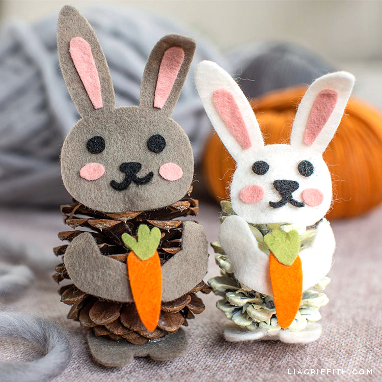 felt pinecone bunnies for spring