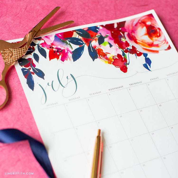 July 2019 printable calendar with watercolor flower design at top