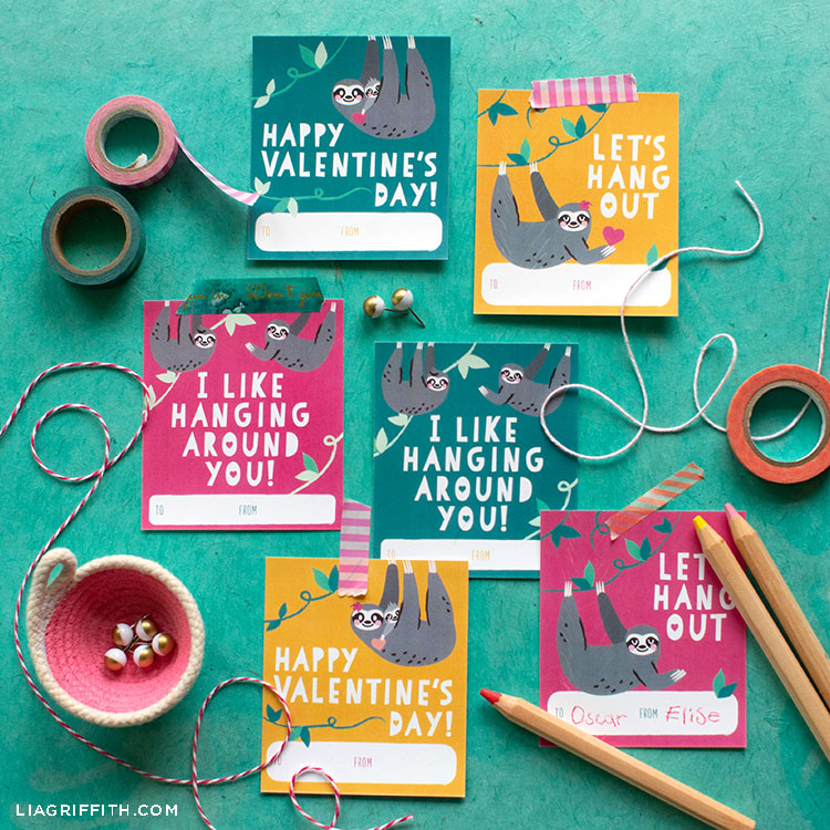 Cute Craft Alert Printable Sloth Valentines Lia Griffith