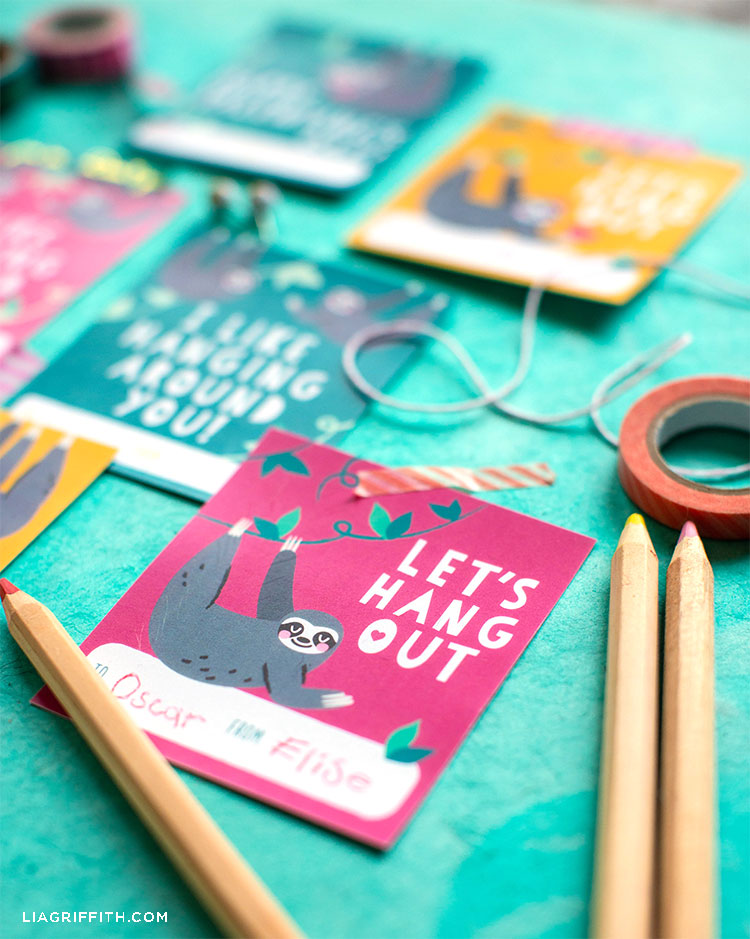 printable sloth valentines with pencils and tape