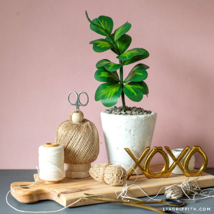 paper Hoya Kerrii plant in white pot on wooden board with XOXO sign and twine