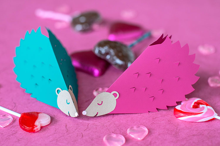 papercut hedgehog valentines with heart-shaped candy